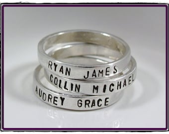 Hand Stamped Personalized Name ring- custom stackable sterling silver Sizes 5,6,7,8,9,10