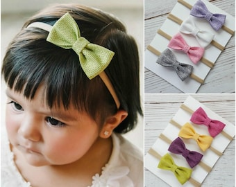 baby bow headbands SET of 4 baby headbands,nylon headband,newborn baby headband ,baby girl headbands, nylon headbands, infant headband bows
