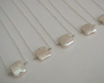 Square Freshwater Coin Pearl Necklaces in Sterling Silver (5)