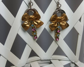 Re-purposed, upcycled assemblage vintage style rhinestone bow earrings