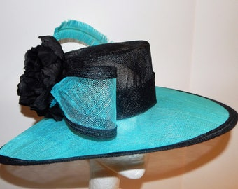 Black and Turquoise Sinamay Kentucky Derby Hat