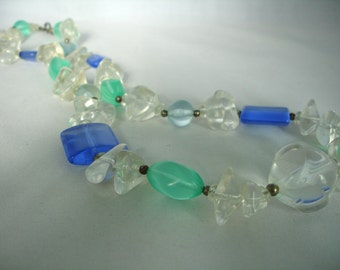 Pastel Blue and Green  and Transparent Bead Necklace - Acrylic Plastic  - Different Shaped Beads - Gift Idea - Summer Necklace