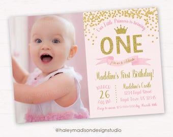 Princess birthday Invitation, Pink and Gold Glitter Princess Crown Invitation, Gold confetti Invitation, Sweet Princess Invitation