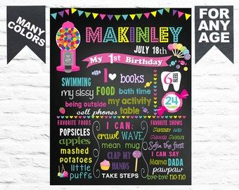 50% SALE Printable Chalkboard Candyland birthday milestone chalk board poster banner sign for a boy second third jpeg white blue red (054)
