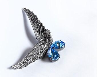 Αquamarine Swarovski Angel Wings Earrings Blue Clip On Earrings Wing Jewelry Gothic Jewelry