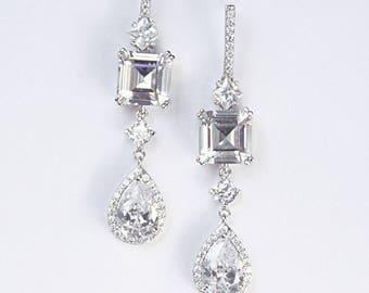 Princess Bridal Earrings Wedding Earrings Unique Modern Minimalist Diamante Cocktail Earrings