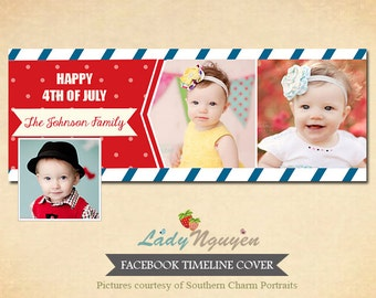 INSTANT DOWNLOAD Facebook timeline - 4th of July Template for photographers - F026