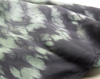 Square Silk Scarf Hand Dyed Shibori Herb Green Black