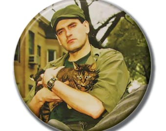 Peter Steele holding a cat 1.75 inch pinback button