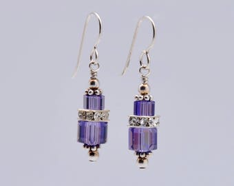 Purple Tanzanite Swarovski Crystal Squaredelle Earrings in Sterling Silver // Special occasion earrings // Bridesmaid earrings