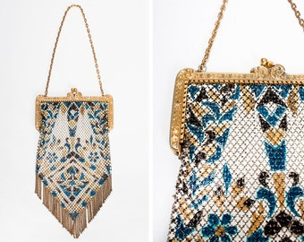 1920s Mandalian Painted Enamel Mesh Evening Bag // Flapper // Art Deco