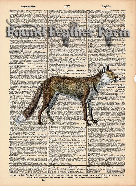 """Vintage Antique Dictionary Page with Antique Print """"Woodland Fox"""""""
