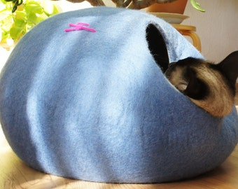 Cat bed, house, cave. Size M. Natural felted wool. Color sky blue. Made by kivikis.