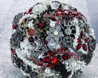 Red Black Brooch Bouquet. FULL PRICE on made to order Heirloom wedding white black red Bridal Broach Bouquet.