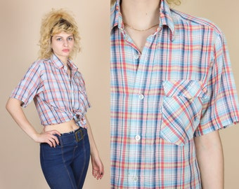 Vintage Levi's Plaid Button Up Shirt - Medium // 80s Short Sleeve Collared Top