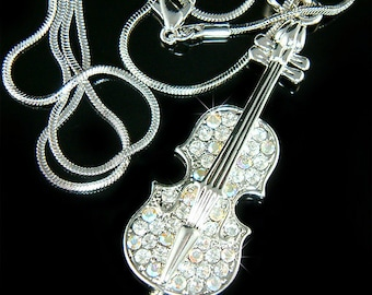 Swarovski Crystal Aurora Borealis Violin Viola Cello Fiddle Musical Charm Pendant Necklace Christimas Best Friend Musican Gift  New