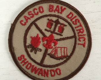 1980s Casco bay district Showando Boy Scouts of America Maine patch unused
