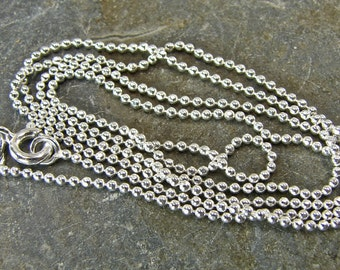 Polished Shiny Sterling Silver 1.5 MM  Ball Chain - 16 Inch With Clasp - One Piece - 1.516p