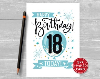 """Printable 18th Birthday Card in Blue- Happy Birthday 18 Eighteen Today! for him- 5""""x7"""" plus printable envelope template. Instant Download."""