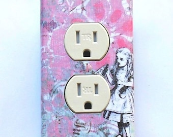 10 choices Pink OUTLET Cover plates & Rockers w/ MATCHING Screws- Alice in Wonderland nursery Alice electrical outlet cover plates rockers