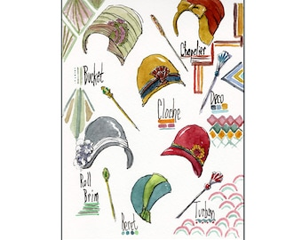 1920s Art Deco Hat collection 8x10 art print