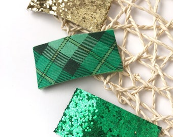 Hair Clips, Glitter Clips, Snap Clips, St. Patrick's Day Hair Clips, Green Hair Clips