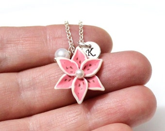 Tiger Lily Necklace, Cristmas Gift,  Lily Jewelry Pendant, Personalized Initial Disc Necklace, Bridesmaid Necklace,  Lily Jewelry Flower