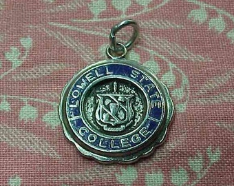 Vintage Sterling Lowell State College Blue Enamel Charm