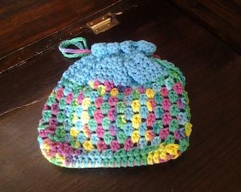 Handbag in blue, crochet drawstring clutch, No78