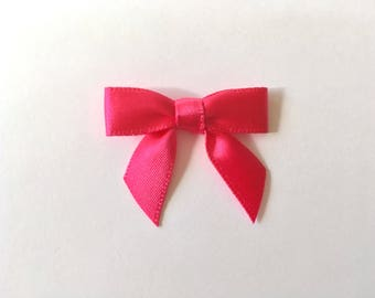 48 Mini HOT PINK Satin Bows - Pre-made ready for crafting