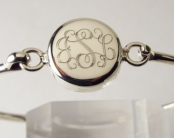 Monogram Jewelry Personalized Custom Engraved Sterling Silver Initial or Monogram Bracelet - Hand Engraved
