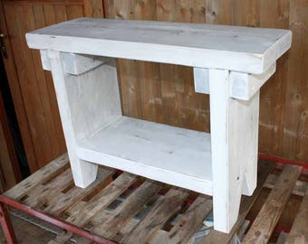 Bank Bench Bank bench SCHUHBANK Garden bench Kaminbank Plank bench solid wood wooden rustic house shabby chic white grey
