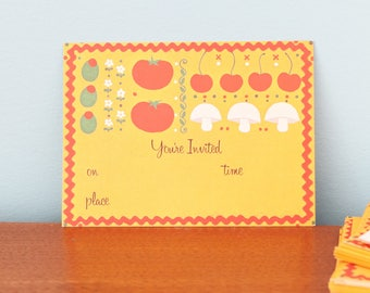 24 Vintage 1970s party dinner invitations vegetable theme