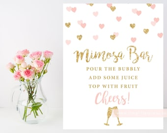 Printable Mimosa Bar Sign, 8x10 blush pink gold heart confetti sign, bridal baby shower sign, breakfast shower, INSTANT DOWNLOAD, 015