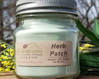 HERB PATCH SOY Candle - Mint Candles, Sage Candles, Basil Candles, Herbal Soy Candles - Spring Candles, Summer Candles
