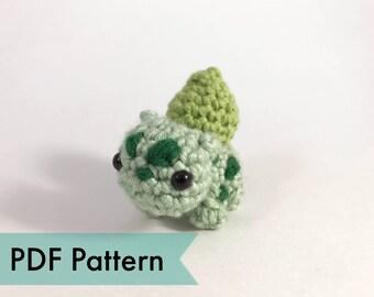 PDF Pattern for Crocheted Bulbasaur from Pokemon Amigurumi Kawaii Keychain Miniature Doll