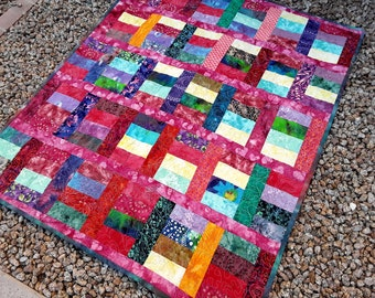 Lap Quilt, Hand Dyed Fabrics, Batik Blanket, Purple Quilt, Multi Colors Quilt