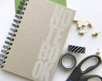 Blank Notebook. Blank pages drawing pad. Sketch book. Letterpress printed notebook.