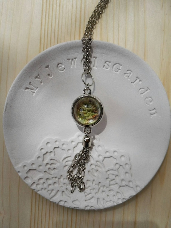 Necklace for women Terrarium pendant wearable planter silver tassel necklace Green moss Glass necklace tree of life nature jewelry woodland