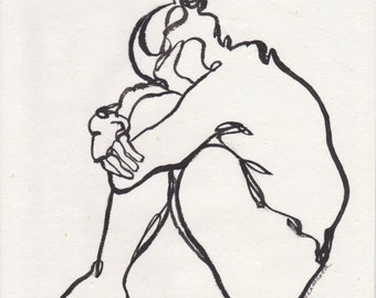 female figure, sumi Ink line drawing on rice paper, original painting