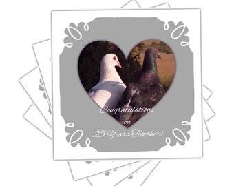 Nature Card, Silver Wedding Anniversary Card, The Love Birds Card, 25 Years Card , Art Card