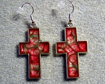Handpainted Pink Forest Green Abstract Resin Christian Cross Earrings Silver SE9