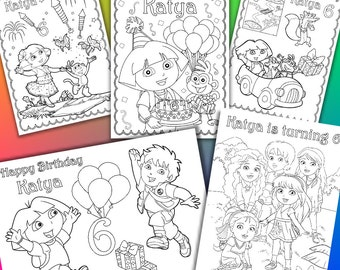 Personalized Dora the Explorer Birthday Party coloring pages, activity PDF file