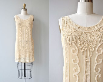 Champagne Toast dress | vintage 1920s dress | beaded silk 20s dress
