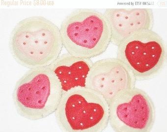 Felt play food - pretend food - play kitchen food - Heart Cookies Set Of 4 #PF2540
