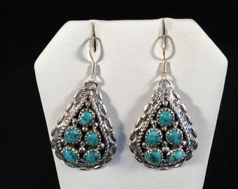 Native American Navajo Turquoise and Sterling Silver Dangle Earrings