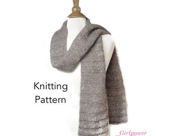 Chunky Knit Scarf Pattern, Lengthwise Ribbed Scarf, Sideways, Quick Easy Knit Beginner Knitting Pattern
