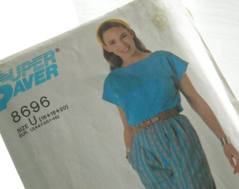 1988 Simplicity sewing pattern #8696 easy to sew New In Package top and pants vintage