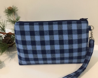Wristlet, Removable Strap, Blue Check,
