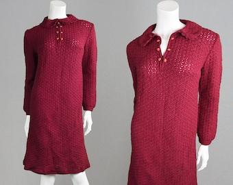 Vintage 60s Mod Dress Wool Shift Dress Knitted Dress Peter Pan Collar Crochet Dress 1960s Dress Cherry Red Knee Length Dress Sweater Dress